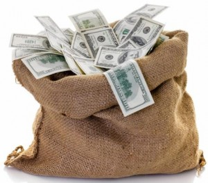Money Burlap bag
