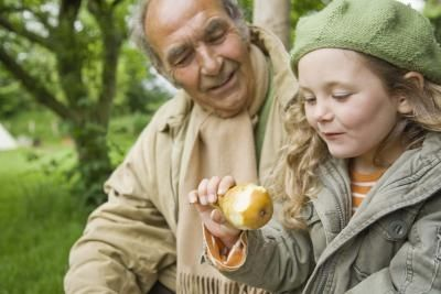 edible-forest-garden-grandpa-child-pear